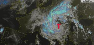 Satellite image showing the low-pressure system.