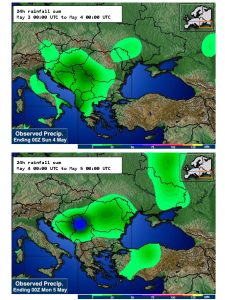 Rainfall May 3 to 5 over Serbia.
