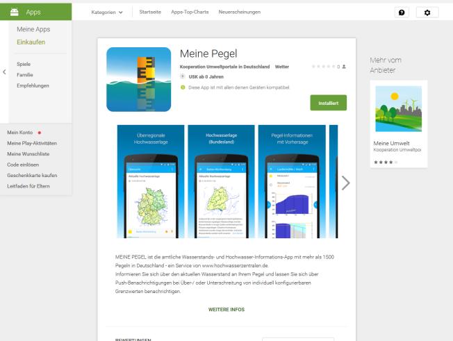 "Verfügbar: die ""Meine Pegel""-App."
