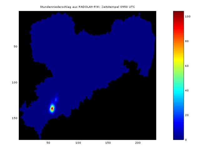 Aus RADOLAN-RW abgeleitete Stundensumme des Niederschlags für den Zeitstempel 11:50 Uhr MESZ, bzw. 09:50 UTC (Datenquelle: DWD).