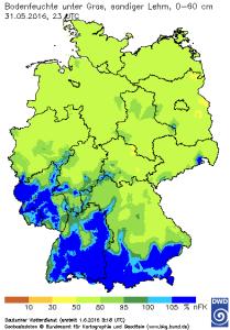 Bodenfeuchte (% nFK) Ende Mai/Anfang Juni 2016.