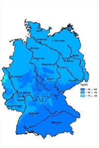 Bodenfeuchte (% nFK) Ende Mai/Anfang Juni 2013.