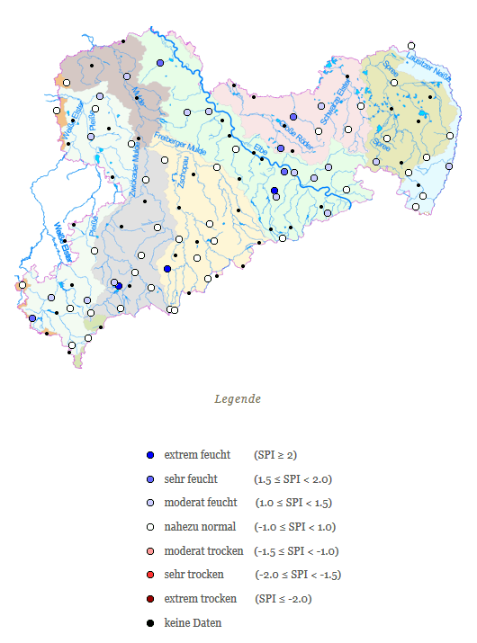Standardisierter Niederschlagsindex (SPI) bezogen auf einmonatige gleitende Niederschlagssummen im Zeitraum 26.05. bis 24.06. der Referenzperiode 1981 bis 2010