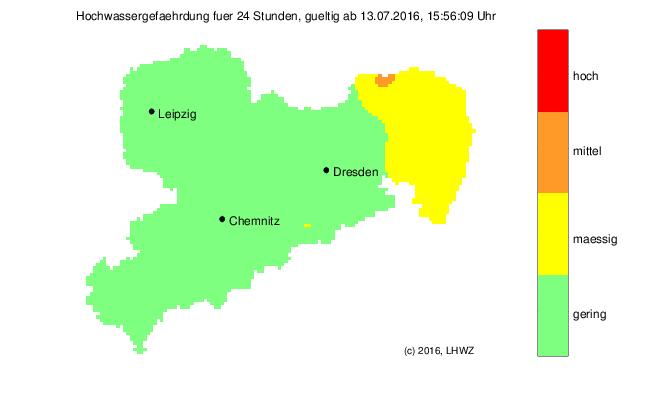 Hochwassergefährdung in Sachsen für die nächsten 24 Stunden; Stand: 13.07.2016, 16:00 Uhr MESZ.