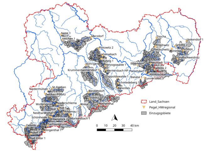 Übersicht der Untersuchungsgebiete (ohne Pilotgebiete Mandau, Röder und Müglitz).